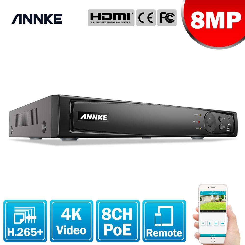 ANNKE-مسجل فيديو شبكي 8CH 8MP ، POE ، NVR لكاميرا IP POE ، وظيفة سحابة P2P ، التوصيل والتشغيل