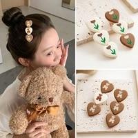 bear love hairpin sweet tulip flower cartoon bear baby hairpins geometry heart girls hair clips korean cute hair accessories