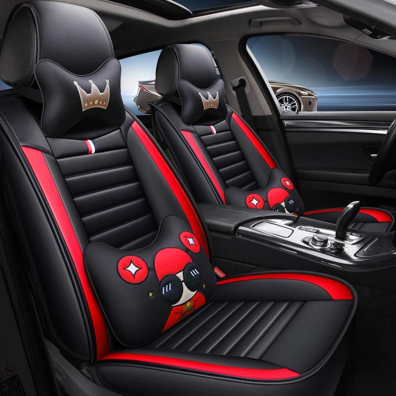Cartoon leather car seat cover for suzuki jimny baleno celerio liana swift SX4 grand vitara vitara all models car accessories