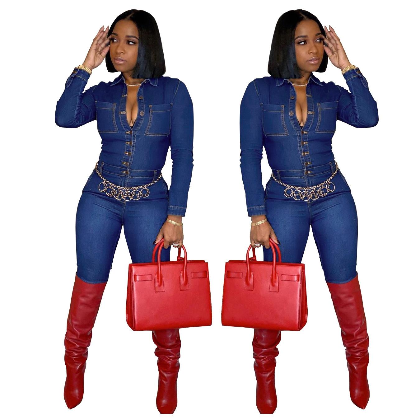 Women Autumn Denim Coat Slimming Clubwear Long Playsuit Button Casual Fashion Bodycon Party Slim Jum