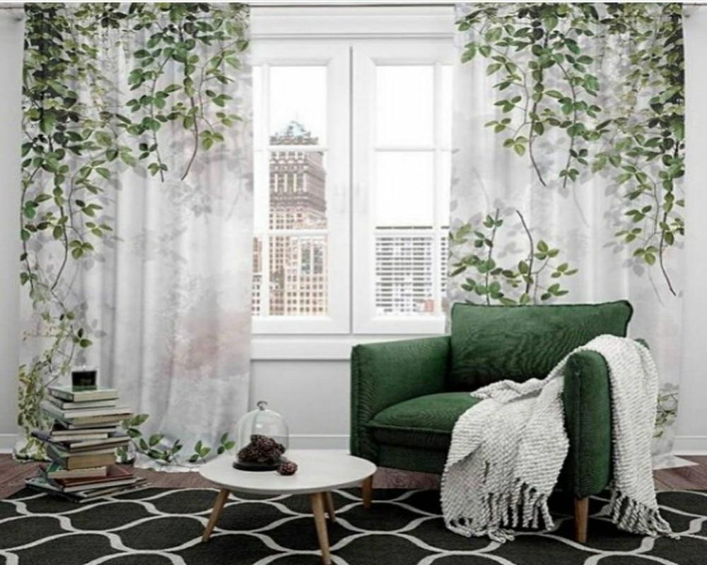 Exquisita cortina de enredadera de agua, mariposa bailando 3d, cortinas de paisaje, sala de estar, dormitorio, bonito Curt opaco práctico