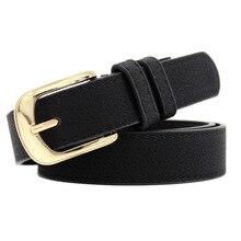 Women Gold Belt New Metal Buckle Belts for Women Pu Pin Buckle Waistband Female Jeans Black White Camel Designer