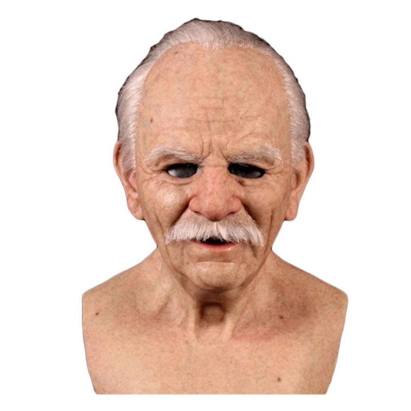 Nouveauté vieil homme effrayant masque Cosplay effrayant pleine tête Latex masque Halloween drôle réaliste Latex vieil homme masque livraison directe