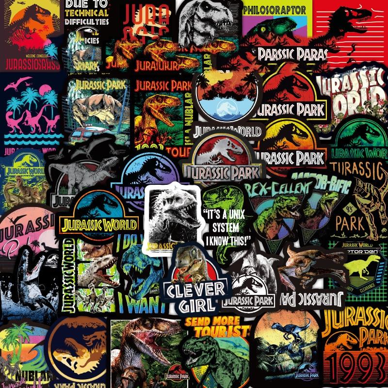 Serie de dinosaurios pegatinas de grafiti para Parque Jurásico fresco para equipaje portátil monopatín calcomanía niños calcomanías de juguetes pegatina 75 Uds