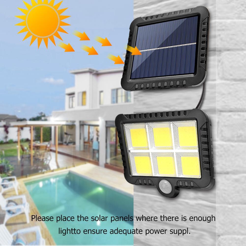 COB 120/100 светодиодный светильник на солнечной батарее, уличный светильник с датчиком движения, водонепроницаемый ночной Светильник, настенный Точечный светильник, Прямая поставка