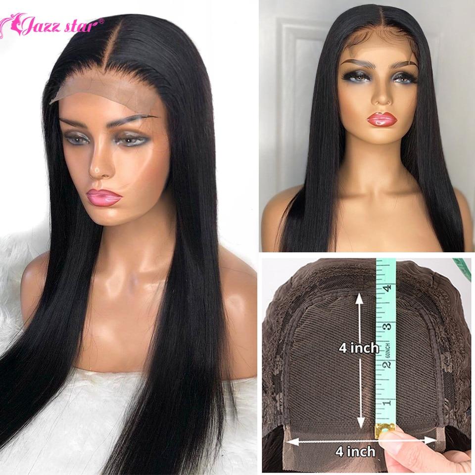جاز ستار-باروكة دانتيل ، شعر بشري برازيلي ناعم ، 4 × 4 ، كثافة 150% ، مع شعر الطفل ، للنساء السود