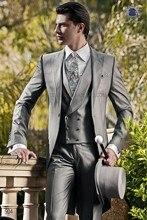 الصباح/تيلكوت نمط الرجال الدعاوى الذروة التلبيب العريس البدلات الفضة رمادي أفضل الرجال العريس الزفاف (سترة السراويل سترة التعادل) E1
