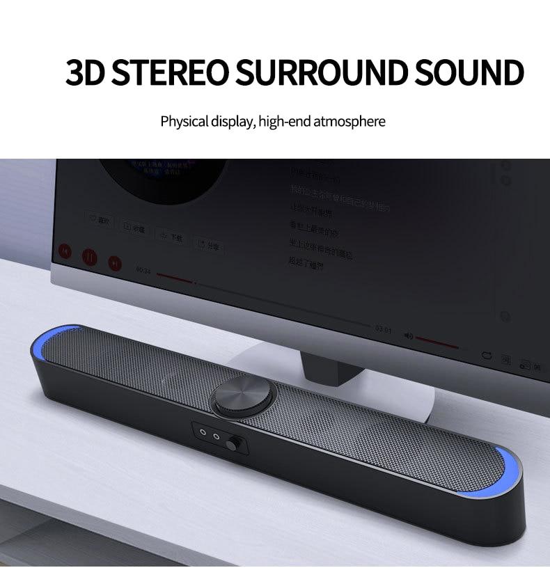 Altavoces inalámbricos Bluetooth para ordenador barra de sonido luces LED 3,5mm Audio USB para ordenador portátil de sobremesa con cable profesional caja de sonido para juegos