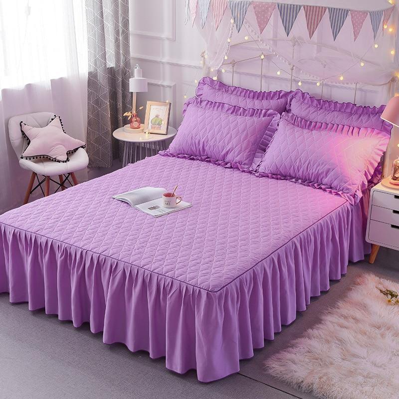 3 قطعة تنورة نوم الأرجواني رومانسية فتاة الحديثة غطاء سرير مزدوج أنيقة ومريحة طقم سرير الملكة الملك المخدة المفرش