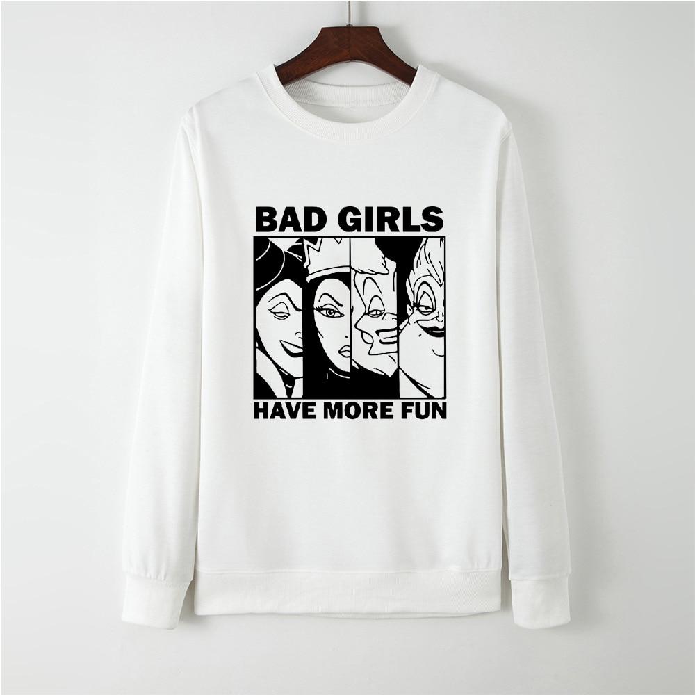 Keep Warm Fashion Loose Funny Sweatshirt Women BAD GIRLS HAVE MORE FUN Maleficent Fairy Tale Villain Hip Hop Sportswear Jacket