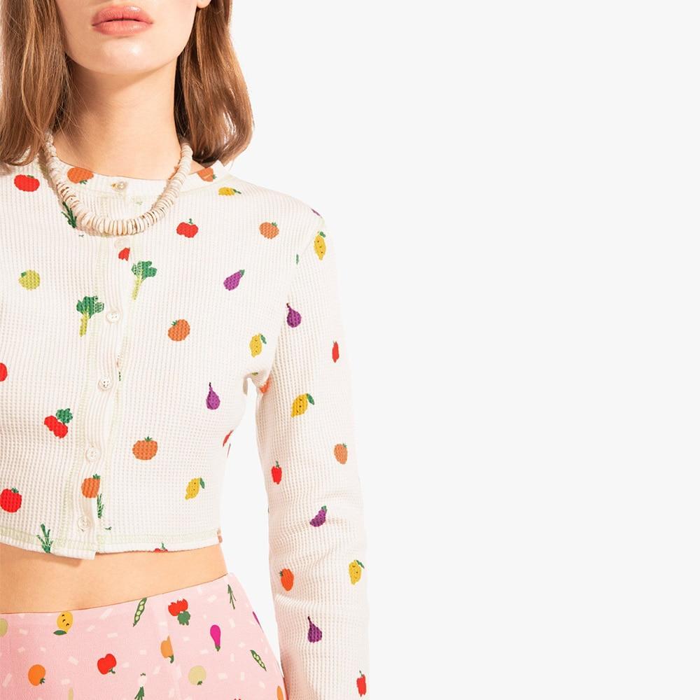 Tops Mujer 2020 verano abotonada Crop Top mujeres manga larga Camiseta lindo dibujo de fruta pequeña camiseta Mujer Ropa Camisetas Mujer