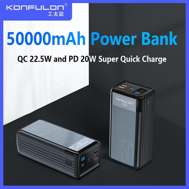 QC22.5 واط قوة البنك 50000 مللي أمبير PD 20 واط LED Powerbank 50000 مللي أمبير 5A شحن سريع بطارية خارجية شاحن آيفون فيفو سامسونج