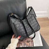 vintage matte pu leather underarm shoulder bag casual womens bag tote stone pattern large capacity messenger crossbody bags