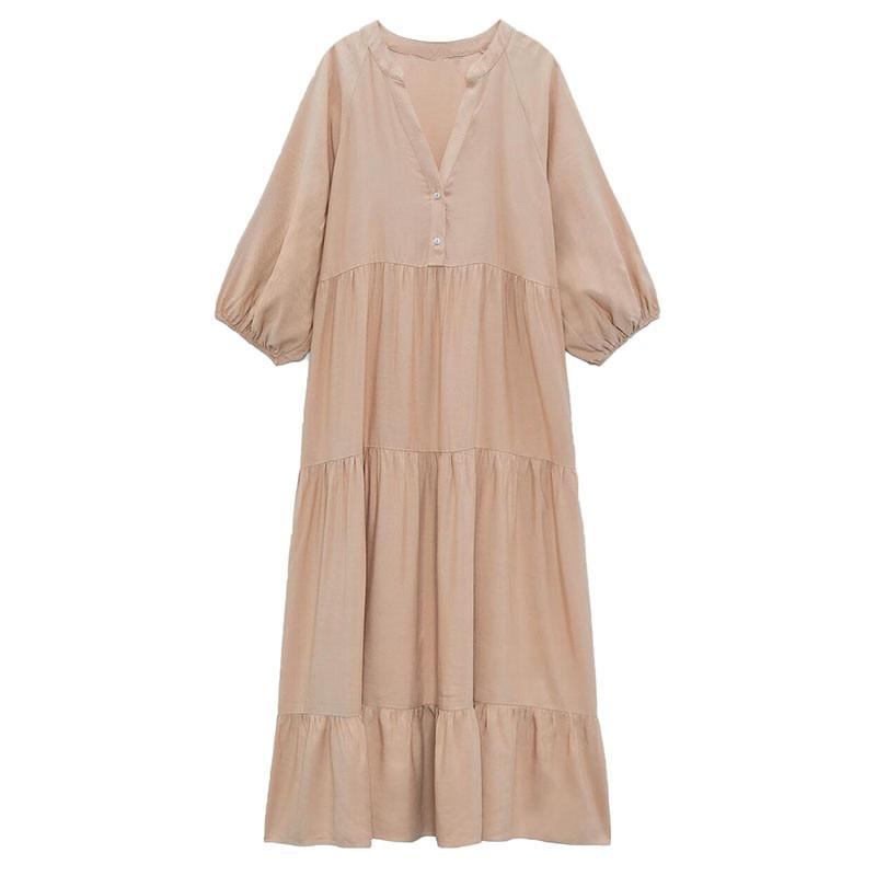 ZA2021 الخريف جديد ملابس نسائية موضة عادية الأوروبية والأمريكية نمط الحلو الطبقات خياطة فستان من الكتان