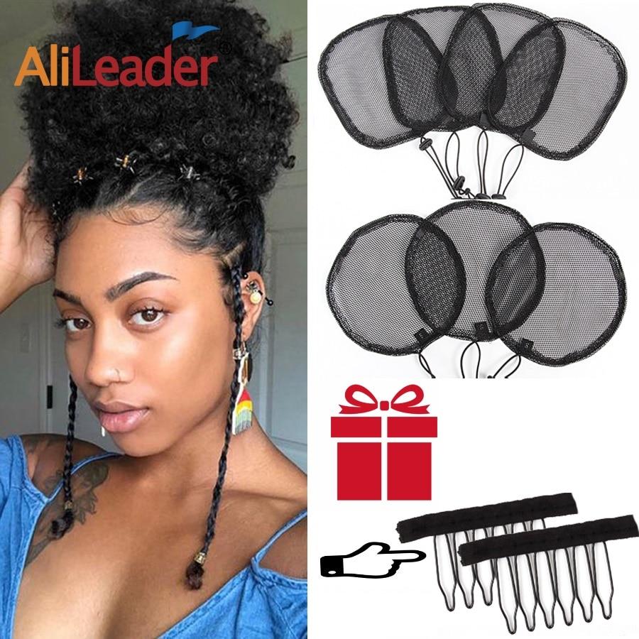 Alileader Good Quality S/L Size 5Pcs Mesh Cap To Make Ponytail Black Poney Tail Wig Maker Hair Bun Net Weaving Cap hairnet
