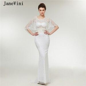 JaneVini 2020 Elegant Lace Long Prom Dresses Scoop Neck Appliques Beaded Sleeveless Luxury Saudi Arabic Mermaid Formal Prom Gown
