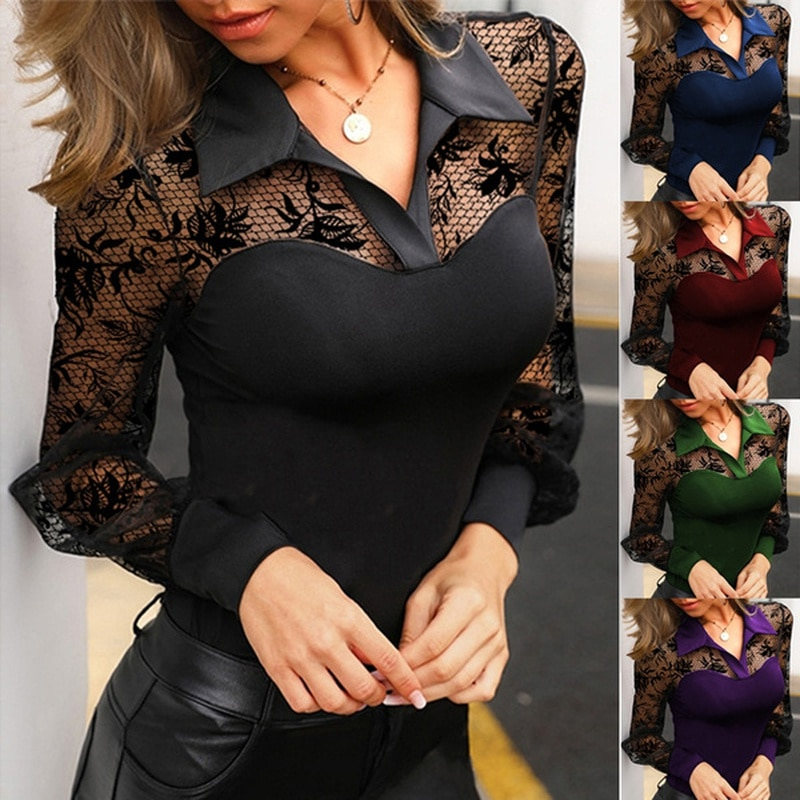 Blouse Women Fashion Spring Autumn Solid Sexy Lace V-Neck Shirts Long Sleeves Casual Slim Fit Female Multi-colored Blouses Tops
