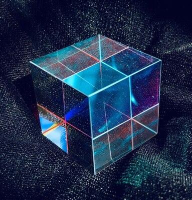 Cubo prisma 28x28mm Cruz dicroica espejo combinador divisor decoración módulo transparente vidrio óptico clase juguete
