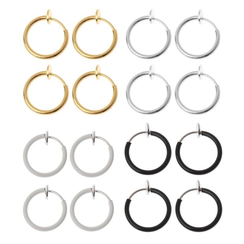 4 шт. серьги-клипсы, шпильки, Индивидуальные поддельные серьги, неперфорированные кольца для носа, клипсы для губ, украшение для тела
