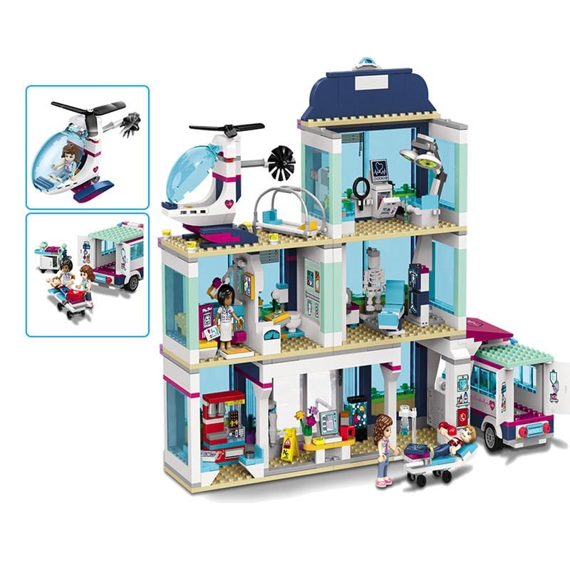 Nuevo modelo 932 serie Friends Girl, diseño de construcción de caballos de juguete, Hospital Heartlake, bloques de juguete para niños, regalos, tamaño de bloque, número de modelo
