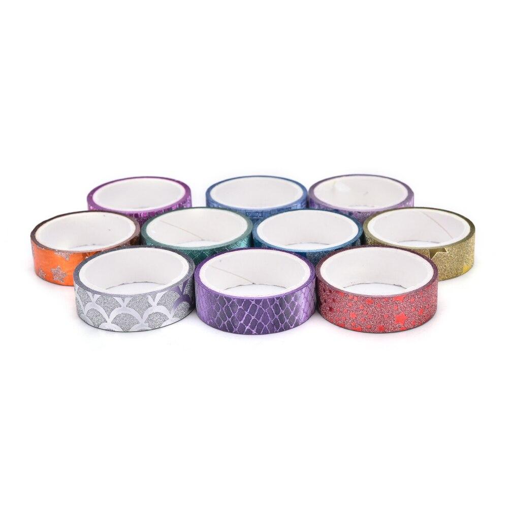 2020 10 uds/lote washi tape cinta adhesiva set partido cintas decorativas glitter washitape oro pegatinas scrapbooking