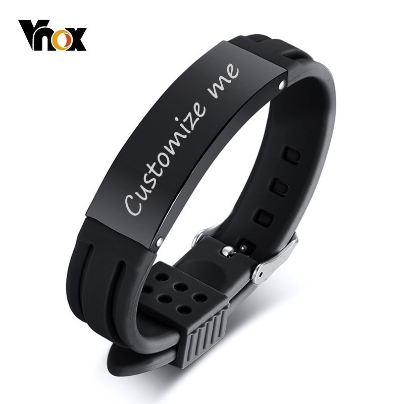 Vnox 16 мм персонализированные браслеты для мужчин силиконовый ремешок из