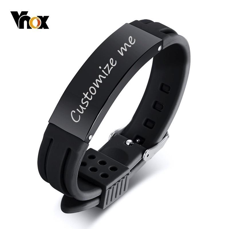 Vnox 16mm Personalisieren Armbänder für Männer Silikon Band mit Edelstahl ID Bar Casual Schmuck Valentinstag Geschenk für Ihn
