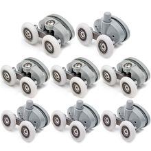 8x doble ducha puerta de cristal superior/inferior rodillos ruedas de poleas 23mm/25mm