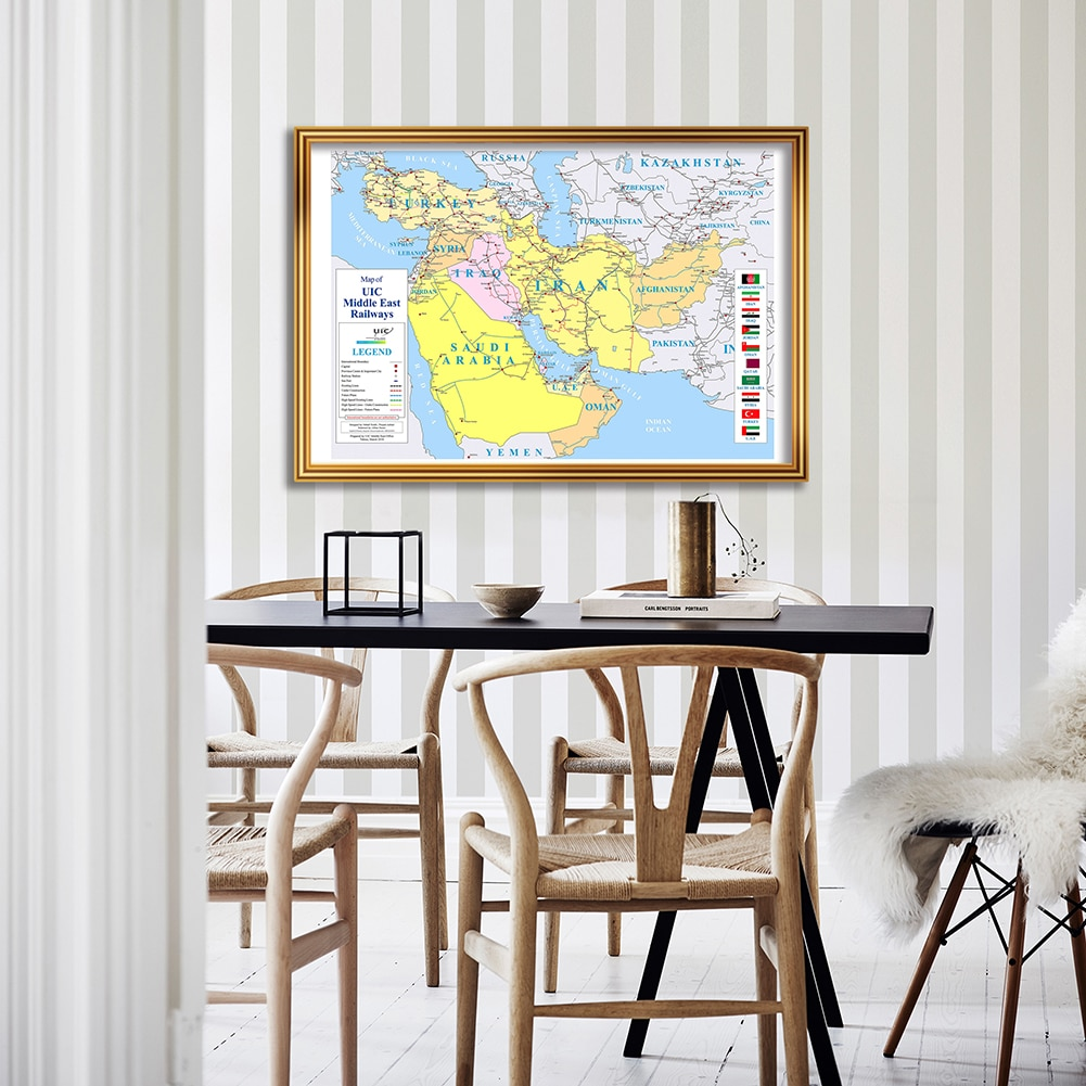 84*59cm Railways Of The Middle East Map Eco-friendly Canvas Painting Wall Art Poster  Living Room Home Decor School Supplies