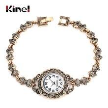 Kinel роскошные женские наручные часы Античное золото турецкий серый горный хрусталь браслет с бантом винтажные Свадебные украшения 2019 Новинка