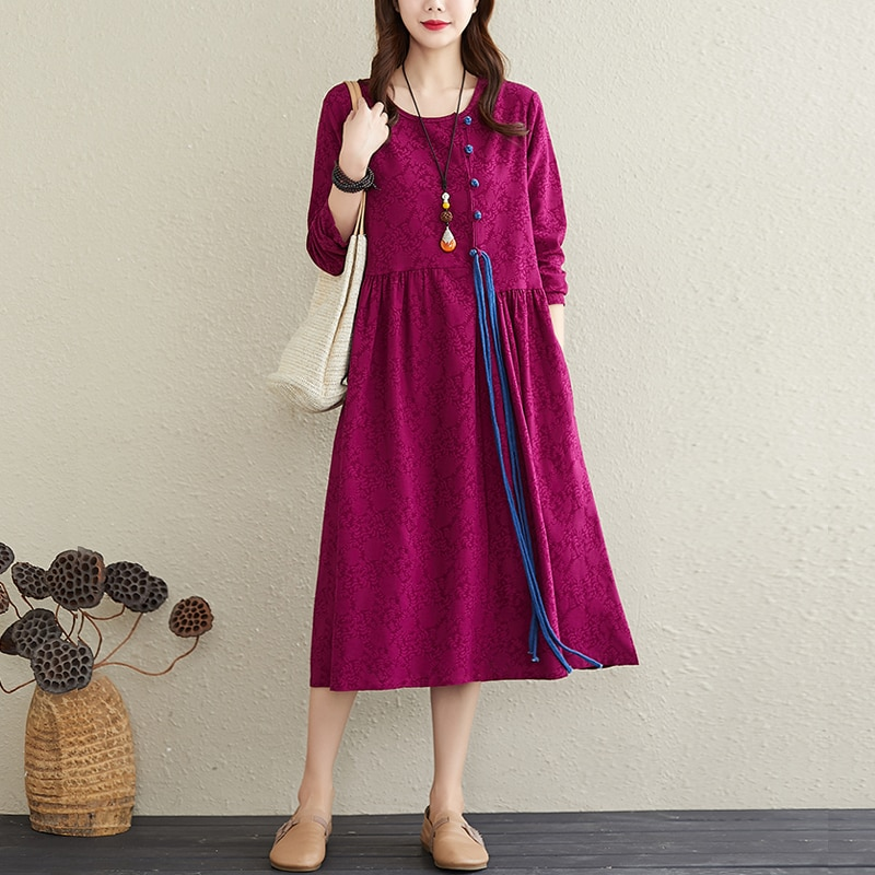 Autumn 2020 Artistic Retro Frog Lace-up Cotton and Linen Long-Sleeved Dress Elegant Slimming Patchwo