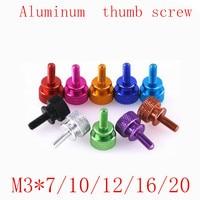 5pcs/lot M3*7/10/12/15/20 Step aluminum colourful knurled hand tighten thumb screw