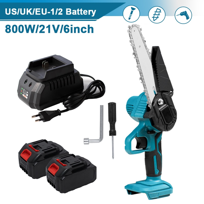 6 inch 1200w mini electric chain saw with battery indicator 128vf 388vf rechargeable woodworking tool for makita 18v battery 6 inch Electric Chain Saw 800W Rechargeable Lithium Electric Saw Brushless Electric Saw Garden Mini Saw With Makita 21V Battery