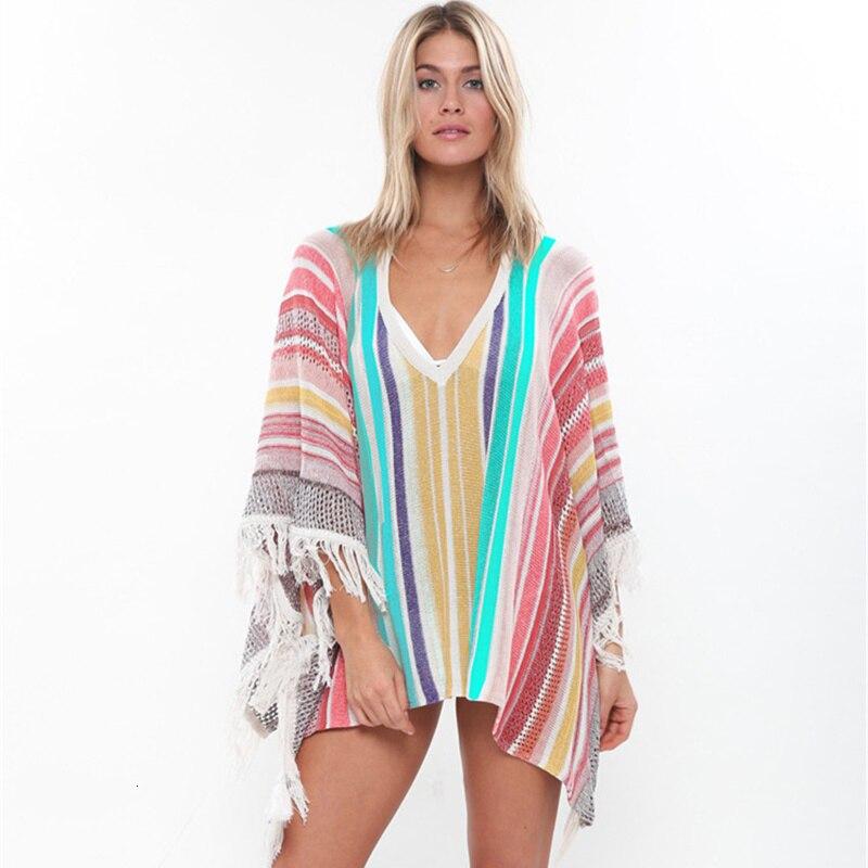 2020 cubrebikini con borlas caladas de talla grande, Vestido de playa de verano para mujer, Túnica de punto de ganchillo, traje de baño para cubrirse, ropa de playa