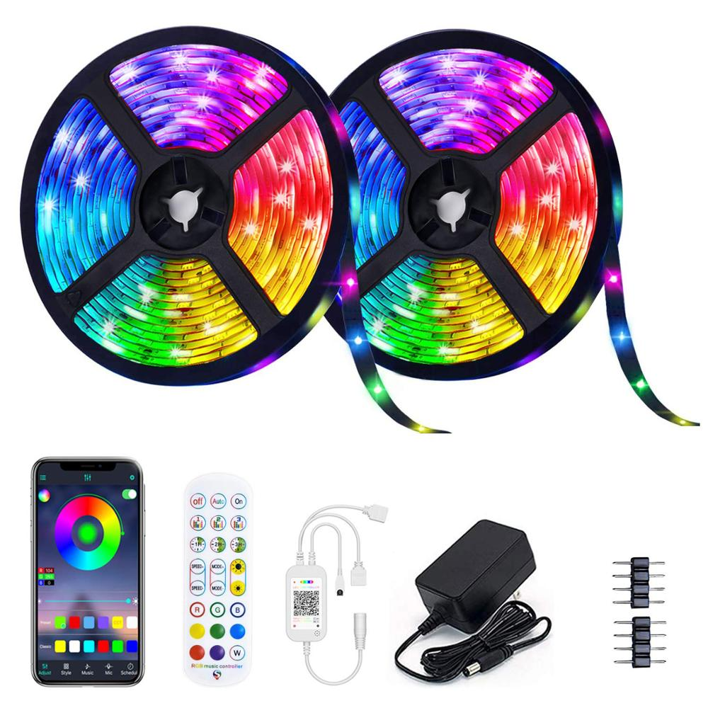 Цветная (RGB) Светодиодные ленты 5050 Bluetooth DC 12V гибкие светодиодные ленты Светодиодные ленты светильник 5 м 10 м 15 м Светодиодные лампы LED светиль...