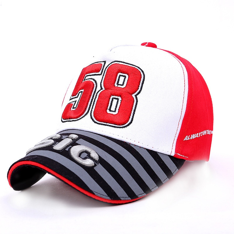 Hombres Mujeres Moto GP Motorfiets gorra de béisbol italiano Racer 58 Simoncelli San Carlo Snapback Hip Hop nueva moda Unisex sombrero CP0454