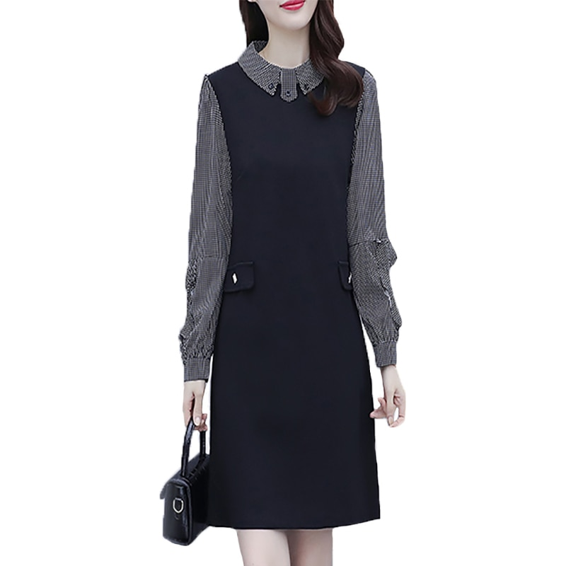 5XL Plus Size 2021 Autumn Fashion Long Sleeve Plaid Patchwork Pocket Loose Dress Large Size Women Elegant Casual Dresses 5xl plus size sexy dress pullover bodycon casual fashion female autumn spring home clothes long oversized dresses indian new