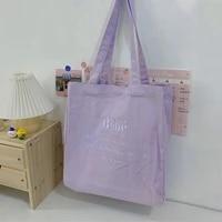 designer handbag for women 2021 canvas tote bag shopper high quality macaron color embroidered letters reusable eco shoulder bag