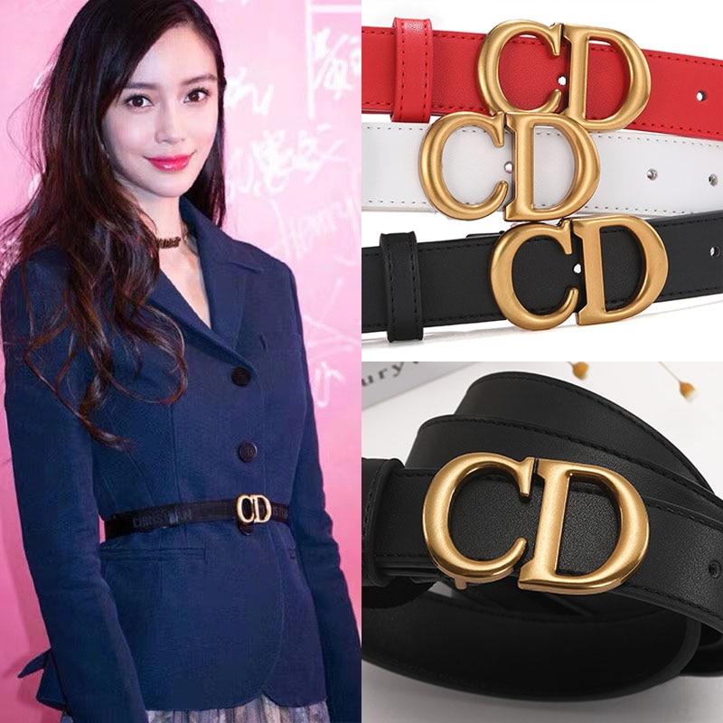 Net red belt ins letter ladies leather fashion CD belt casual Joker decorative simple jeans belt