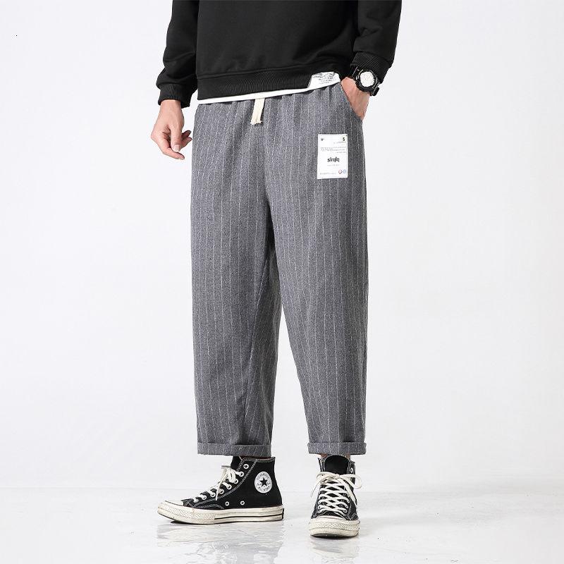 Oversized Striped Casual Pants Men Korean Fashion Loose Straight Wide-leg  Japanese Streetwear Ankle-length
