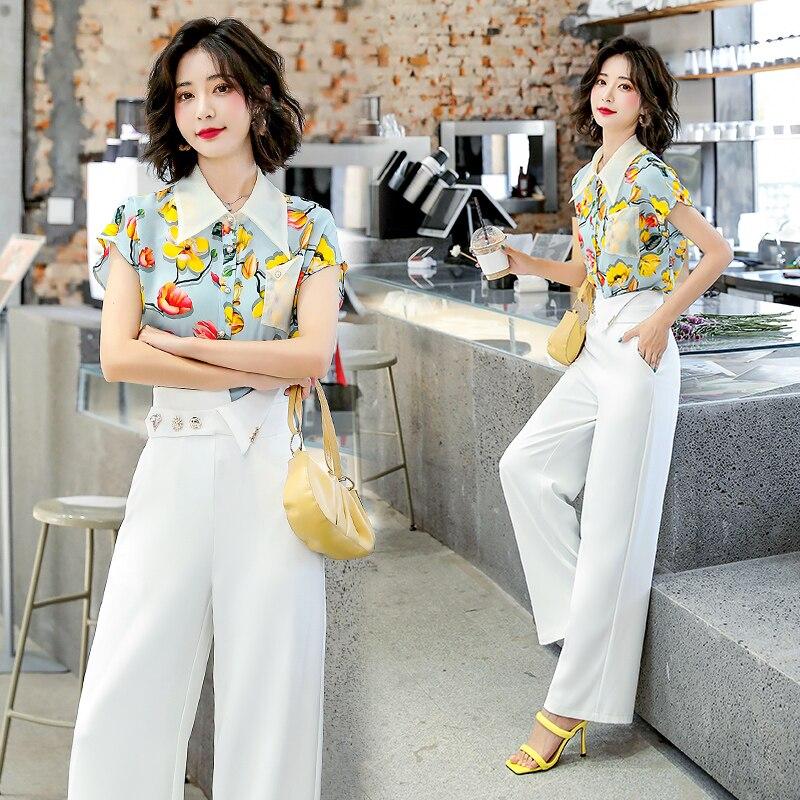 2021 مجموعة بدلات الصيف النسائية أزياء أنيقة بلوزة السيدات الأزهار قطعتين واسعة الساق بانت الدعاوى قصيرة الأكمام