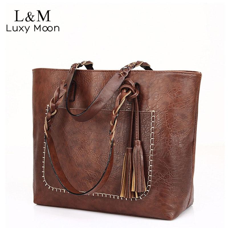 Винтажная сумка женская коричневая кожаная сумка через плечо Дамская Ретро сумка большая PU сумки bolso 2020 модные большие черные сумки XA540D