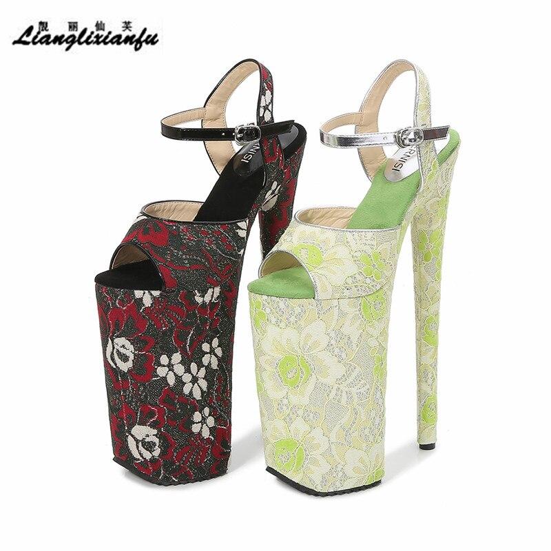 الصيف الصنادل السرايا خنجر التطريز أحذية امرأة 26 سنتيمتر عالية رقيقة جدا الكعوب مشبك منصة مضخات الزفاف zapatos mujer