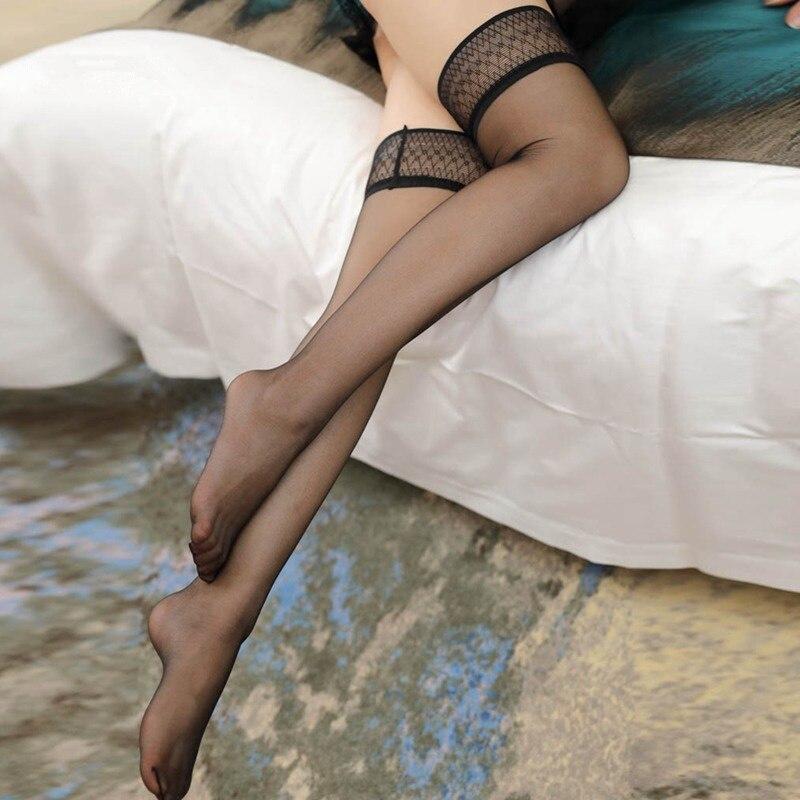 Сексуальное женское нижнее белье, сексуальные прозрачные чулки до колена, нейлоновые чулки, противоскользящие силиконовые Чулки