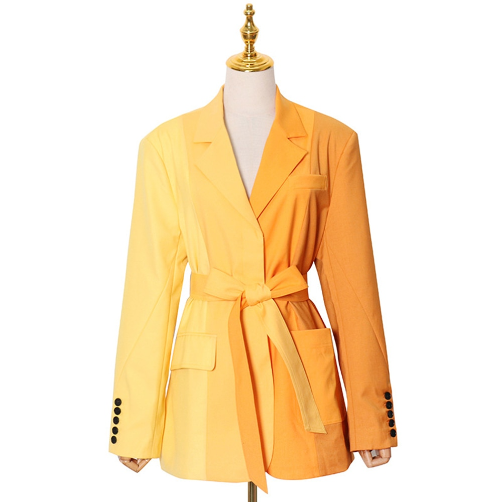 Designer Blazer Women's Blazer Jacket Top Female Sexy Blazer Jacket Female Sashes Casual Blazer Coat Colorful