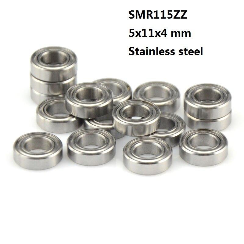 بكرة ذات أخدود عميق من الفولاذ المقاوم للصدأ ، 50 قطعة ، SMR115ZZ SMR115 ZZ 5x11x4 مم