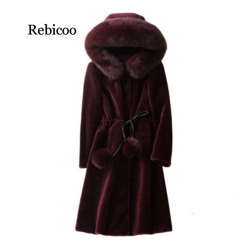 Nueva capa larga cálida de mezcla de lana de mujer de talla grande cinturón ajustado de solapa abrigo de lana Otoño Invierno prendas de vestir exteriores de Cachemira