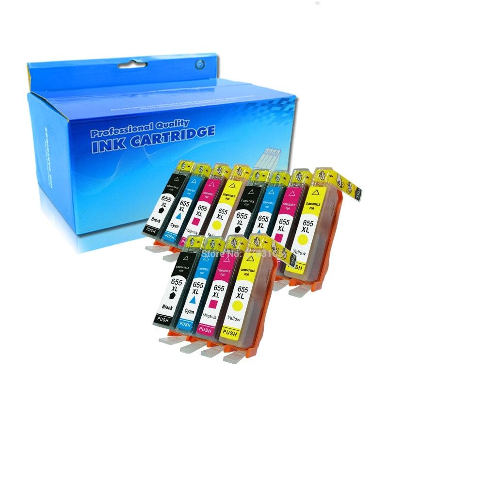 12 шт./упаковка, картриджи для принтера hp Deskjet ink Advantage 655 3525 4615 4625 5525 6520