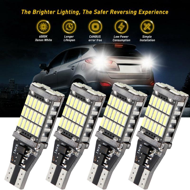 1/2/4 PCS Universal 4014 45 SMD T15W16W LED 921 912 Super Bright Canbus No ERROR Car Backup Stop Reserve Light Brake Lamp White