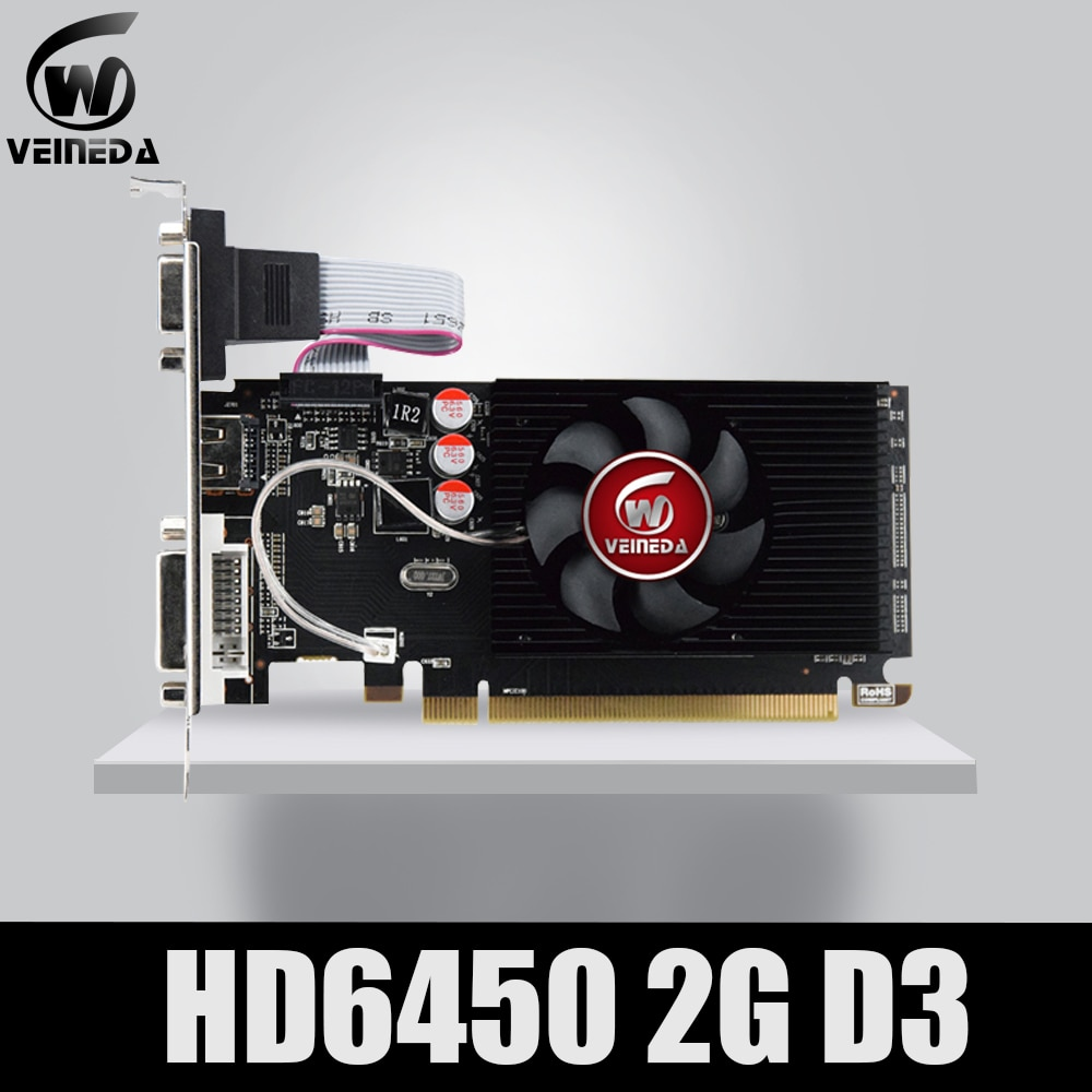 Original GPU Veineda Graphics Cards HD6450 2GB DDR3 Graphic Video Card PCI Express For ATI Radeon Ga